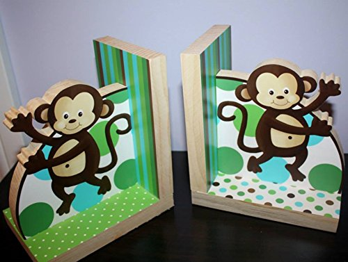 Aqua Pop Monkey Boys Bookends Kids Bedroom Baby Nursery Wood Bookends BE0013 by Toad and Lily (Image #1)