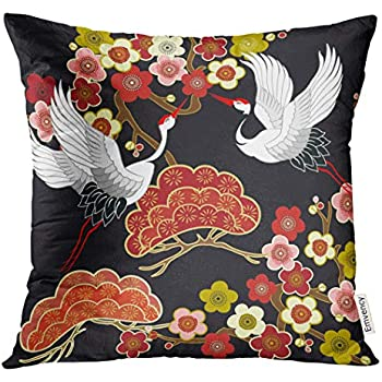 Emvency Throw Pillow Cover Blue Animal with Flying Birds Crane Heron Japanese Pattern Oriental Motifs Green Asian Decorative Pillow Case Home Decor Square 20x20 Inches Pillowcase
