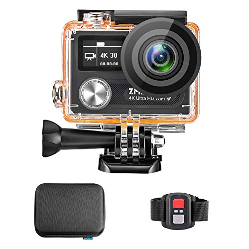 Zmeida 4K 14MP Action Camera 170° Wide Angle Dual Screen Waterproof Sports Video Underwater Camcorder by Zmeida