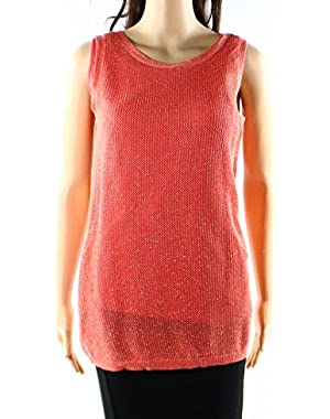 Calvin Klein Womens Weave Sweater Tank Cami Top Orange XS