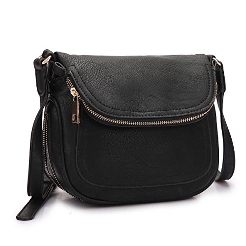 MKY Lightweight Women Leather Saddle Bag Shoulder Crossbody Bag Travel Purse Black