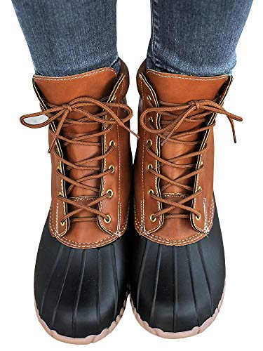 Liyuandian Womens Lace Up Duck Boots Waterproof Two Tone Combat Calf Rain Shoes