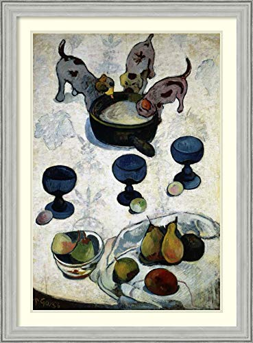 (Framed Wall Art Print Still Life with Three Dogs, Nature Morte aux Trois Chiots by Paul Gauguin 26.75 x 36.25)