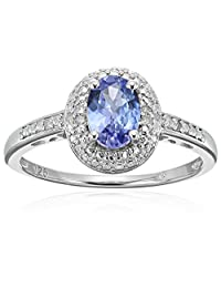 Sterling Silver 3/4 cttw Oval Tanzanite and Diamond Accented Engagement Ring, Size 7