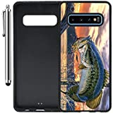 Custom Case Compatible with Galaxy S10 (Pro Fishing Bass Mouth) Edge-to-Edge Rubber Black Cover Ultra Slim | Lightweight | Includes Stylus Pen by Innosub