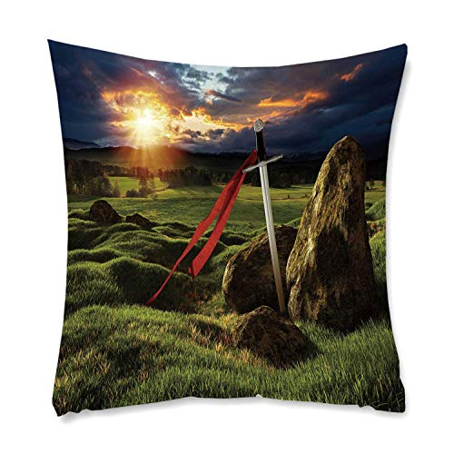 YOLIYANA King Comfortable Square Pillowcase,Arthur Camelot Legend Myth in England Ireland Fields Invincible Sword Image for Living Room Bedroom,One Size