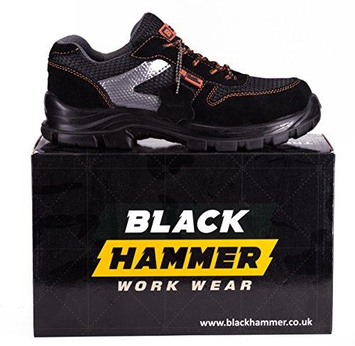 Black Hammer Herren Sicherheitsschuhe Leicht Verbundstoffkappe und Kevlar-Zwischensohle Arbeitsschuhe Knöchelhoch Wanderschuhe 1997 Schwarz