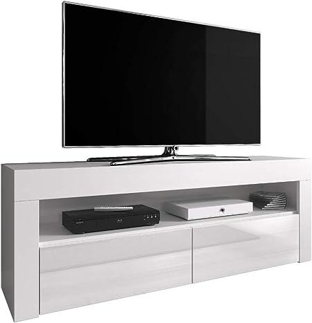 E-com Mueble TV Mueble TV Soporte Entretenimiento bajo Luna 140 cm, Cuerpo Blanco Esterilla/Frontales Blanco Alto Brillo (sin LED): Amazon.es: Hogar
