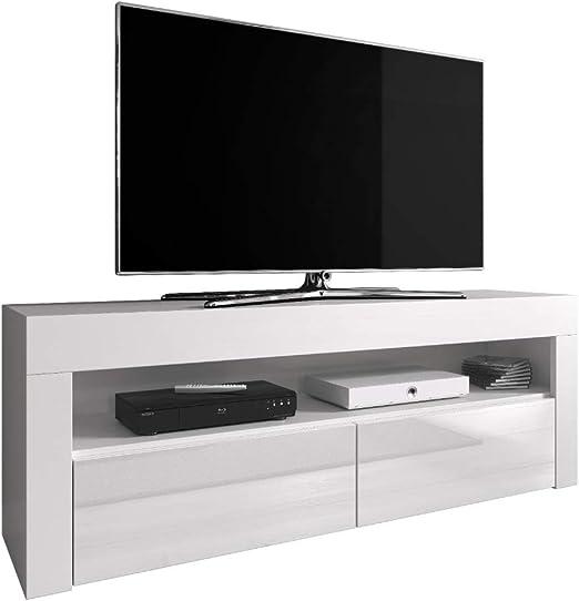 E-com Mueble TV Mueble TV Soporte Entretenimiento bajo Luna 140 cm ...