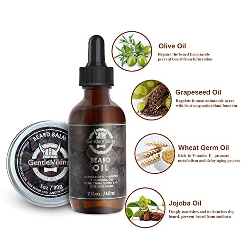Beard Grooming & Trimming Kit for Men Care-Gentle Vikings Beard Oil and Beard Balm/Butter/Wax Gift Set with Wooden Beard Comb-Mustache&Beard Styling&Shaping-Best Gift for Men,Husband,Father and Him