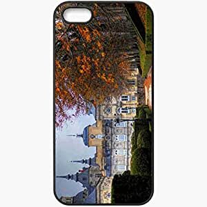 Protective Case Back Cover For iPhone 5 5S Case Autumn Trees Building Black
