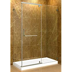"Aston 48"" x 35"" x 77.5"" Semi-Frameless Hinged-Pivot Shower Enclosure with Right Drain Base, Polished Chrome"