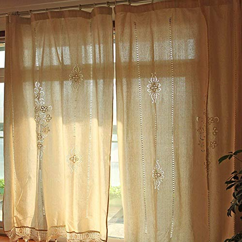 OurWarm 70 x 70 Inch Elegant Embroidery Window Curtains Blackout Curtain Panels, Handmade Crochet Window Curtains for Living Room Hotel, Beige Color (Cotton Curtain Lace)
