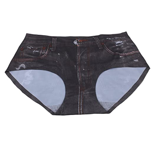 693bf1770d18 Tenchif Women Ladies Faux Jeans Print Briefs Panties Lingerie Underwear at  Amazon Women's Clothing store: