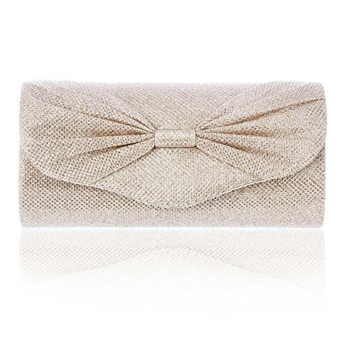 Damara Womens Purse Champagne Party Sparkly Clutch Front Bownot Medium ggr8dq