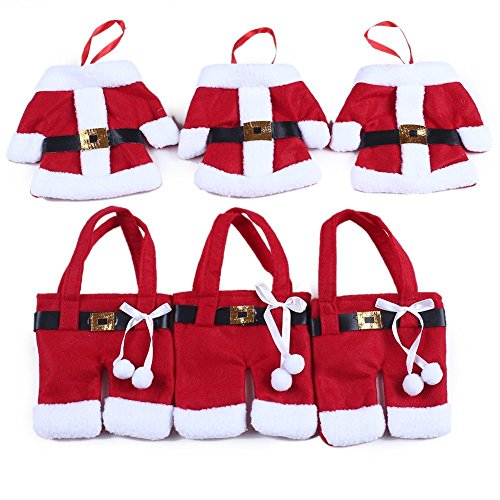 Warmstor 6PCS [Christmas Decoration] Santa Claus Tableware Silverware Holder [Dinner Table Decor] Knife and Fork Bags