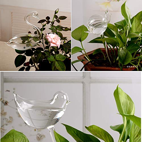 Asvert Self Watering Aqua Globes Hand-Blown Mini Glass Automatic Plant Waterer Bulbs Bird Shape Decorative Design,Set of 3