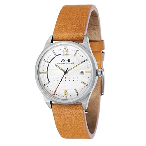 AVI-8 Men's AV-4044 Hawker Hurricane Stainless Steel Japanese Quartz Leather Watch (White/Tan)