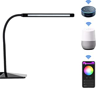 Smart LED Desk Lamp with WiFi, Reading Light with 3-Level Dimmer Touch Control Office Light 360°Rotation Work with Alexa Echo Dot Google Home (Black)