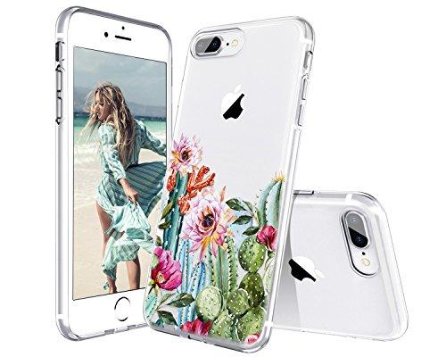 Lontect Compatible iPhone 8 Plus Case, iPhone 7 Plus Case, Slim Bumper Cushion Clear Floral Soft Flexible TPU Cover Transparent Scratch Resistant for Apple iPhone 8 Plus iPhone 7 Plus - Cactus Flower