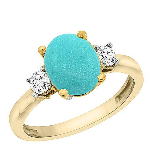 10K Yellow Gold Natural Turquoise Engagement Ring Oval 10×8 mm Diamond Sides, sizes 5 – 10