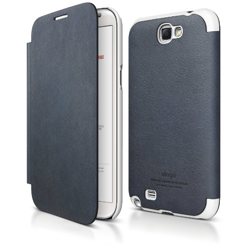 Elago G6 Leather Flip Case For Galaxy Note 2  Hd Professional Extreme Clear Film Included   Full Retail Packaging  Jean Indigo