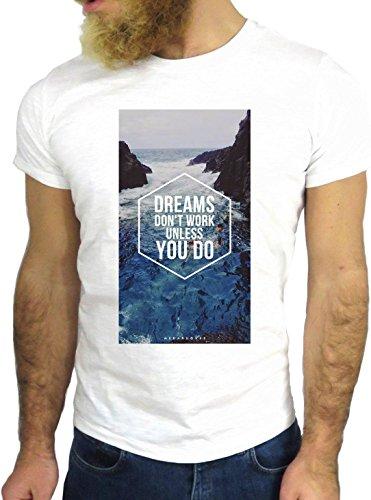T SHIRT JODE Z1965 DREAMS NOT WORK UNLESS YOU DO LIFESTYLE TUMBLR COOL FASHION GGG24 BIANCA - WHITE M