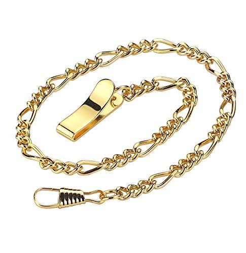 BOSHIYA Decent Chrome-Plated Vest Waistcoat Pocket Watch Chain Tone (Clip Chain-Gold)