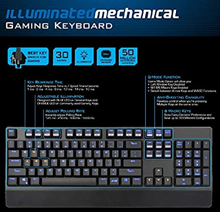 Amazon.com: Mechanical Gaming Keyboard Brown Switch - LED Backlit Full Mechanical Keyboard with 104 Keys: Computers & Accessories