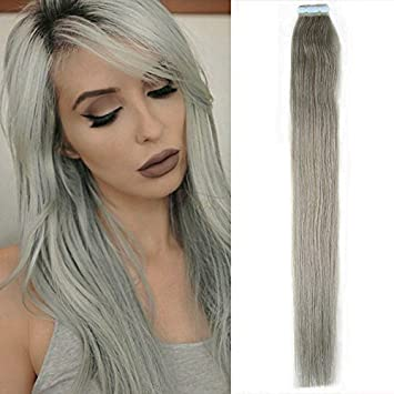 Amazon new arrival straight tape in remy human hair new arrival straight tape in remy human hair extensions 100 real human hair gray hair pmusecretfo Choice Image