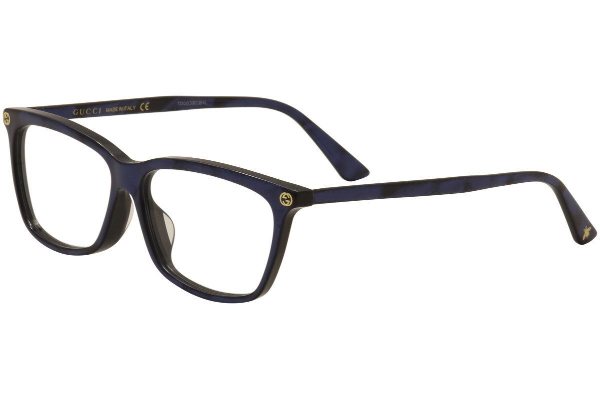 Gucci GG 0042OA 004 Asian Fit Blue Plastic Cat-Eye Eyeglasses 55mm