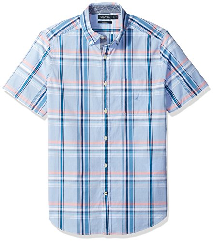 Nautica Men's Short Sleeve Plaid Button Down Shirt, Rivieria Blue, X-Large