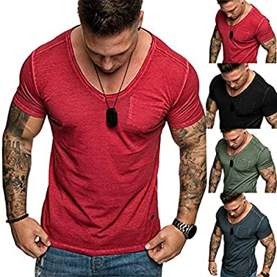 Men's Fashion Casual V-Neck Shirt, MmNote Men's Muscle Fitness Classic Pocket Design Polyester Cool Quick Short Sleeve