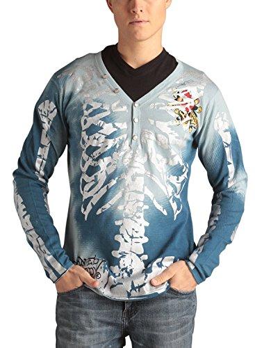 Ed Hardy Mens Metallic Skeleton Print V-neck Henley Sweater - Blue - (Ed Hardy Men Sweater)