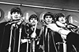 The Beatles The Fab Four standing in front of microphones 1964 24x36 Poster