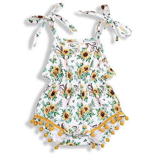 (Newborn Baby Girl Floral Romper Strap Sunflower Jumpsuit Bodysuit Outfit Summer Clothes (Sunflower, 6-12)