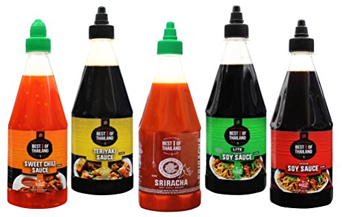Best of Thailand Variety Sauces Real Asian Brewed Sriracha Teriyaki Soy Light & Regular and Sweet Chili Sauces No MSG, Kosher Each Bottle Contains 23.6 fl-oz by Best of Thailand