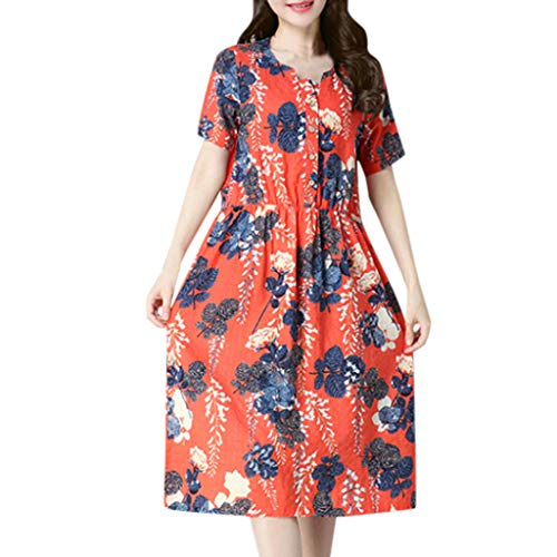 (Vintage Casual Cute Dress Women Summer Short Sleeve V-Neck Knee Length Dress Red)