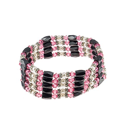 - Magnetic Hematite Beaded Wrap Bracelet, Anklet or Necklace with Genuine Fresh Water Pearls & Pink Beads