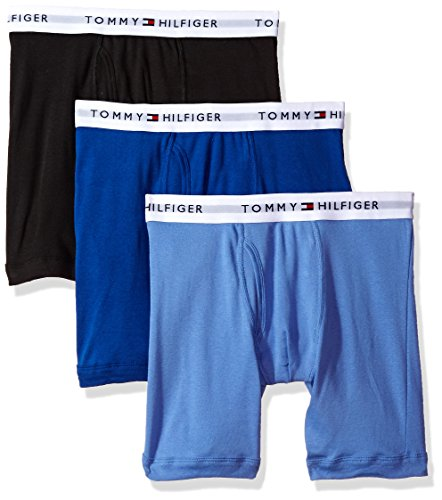 Tommy Hilfiger Men's Underwear 3 Pack Cotton Classic Boxer Briefs, Ink Blue, X-Large
