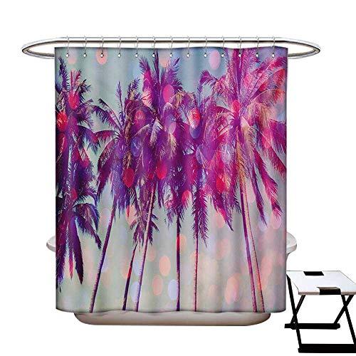 BlountDecor Nature Shower Curtains 3D Digital Printing Palm Trees Hawaiian Tropic Seashore Beach Californian Miami Sunbeams Image Custom Made Shower Curtain W48 x L72 Fuchsia Purple Green]()