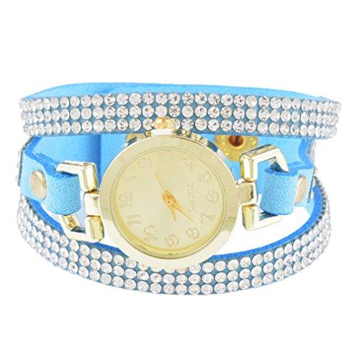 (Loweryeah South Korea Velvet Strap Drill Circle Watch Lady Rhine Stone Watch 21.5cm)