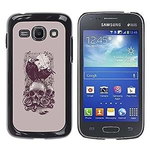 GOODTHINGS Funda Imagen Diseño Carcasa Tapa Trasera Negro Cover Skin Case para Samsung Galaxy Ace 3 GT-S7270 GT-S7275 GT-S7272 - poe cuervo cráneo de la muerte del vampiro gris