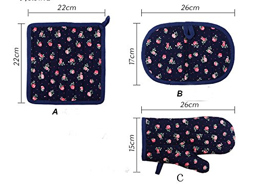 Going Home Handmade Romantic Roses Print Oven Glove Kitchen Accessory Oven Mitt Set, Oven Gloves, Handmade, Rose Dot Oven Gloves, Cotton Kitchen Decor,With Hot Pads 2 Sets