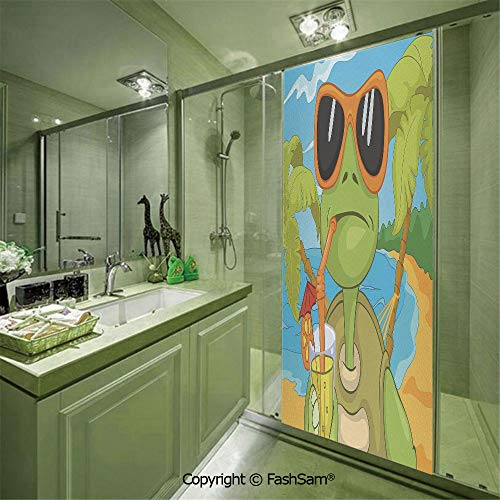 (PUTIEN Door Glass Sticker Cool Sea Turtle with Sunglasses Drinking Cocktail at The Beach Cartoon for Bedroom Glass Privacy(W23.6xL78.7))