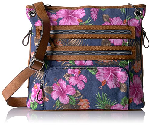 Bueno of California Bueno Tropical Flower Trip Zip Xb Navy, Navy Tripical Flower/Camel