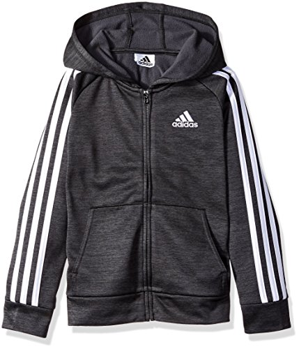 - adidas Boys' Big Zip Up Hoodie, Black Heather, M (10/12)