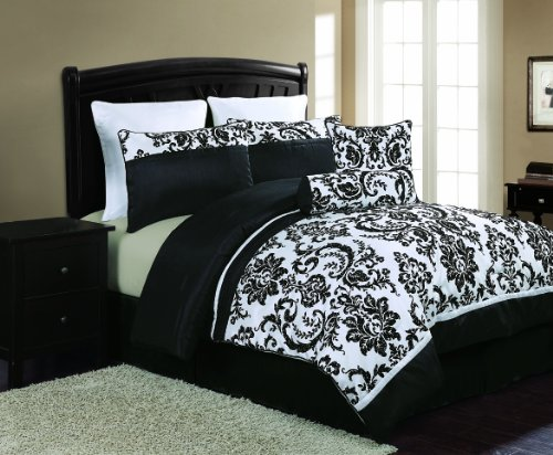 Amazon Com Vcny Daniella 8 Piece Flocked Comforter Set Black
