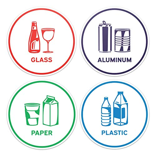 Recycling Bottle (Recycling Sorting Sticker Signs Decals - Paper, Aluminum, Plastic, Glass (Set of 4 Stickers))