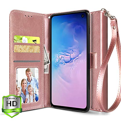Samsung Galaxy S10E/ S10 E Wallet Case, Luxury PU Leather Flip Full Body Phone Cover with Kickstand and ID Credit Card Slot Holder for Samsung Galaxy S10E/ S10 E-Rose Gold
